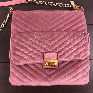 Cute Pink Velvet Big Buddha Crossbody Handbag